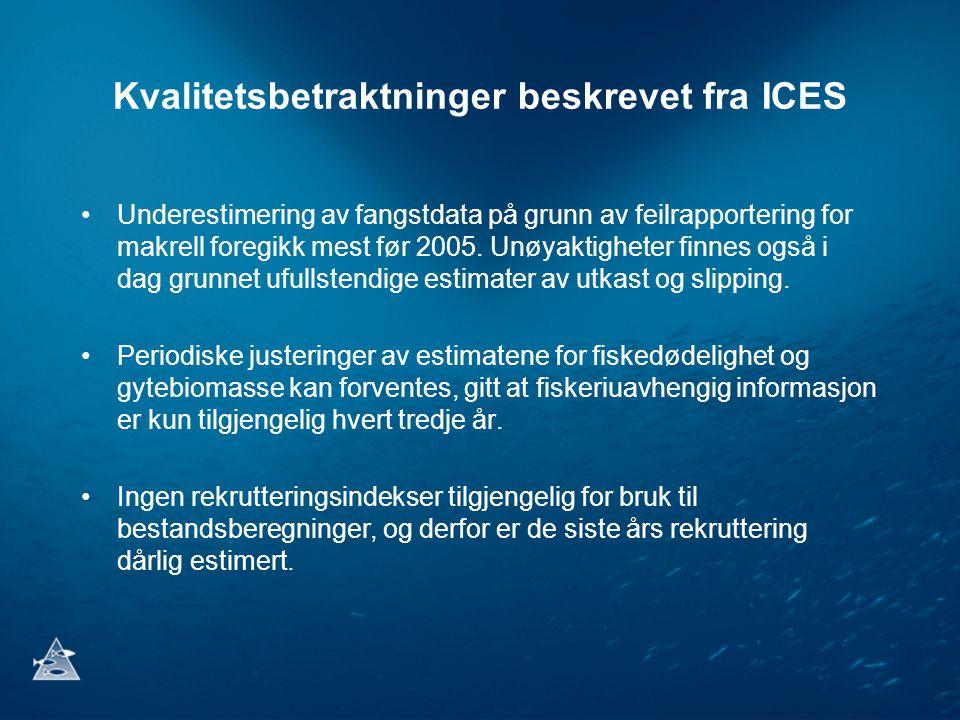 Kvalitetsbetraktninger beskrevet fra ICES •Urapporterte fangster i tidsserien forårsaker underestimering av bestandsstørrelsen for makrell i de analytiske bestandsberegningene og vurderingene, som er grunnlaget for det vitenskapelige rådet.