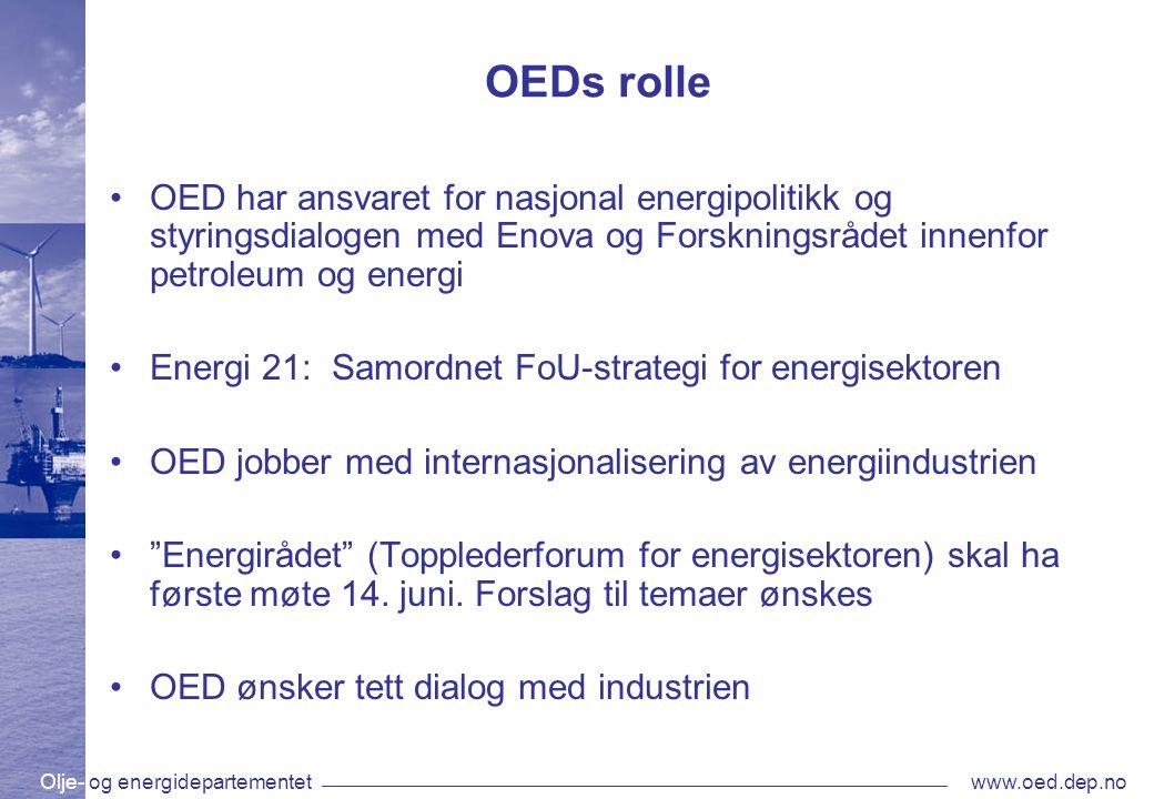 Olje- og energidepartementetwww.oed.dep.no OEDs rolle •OED har ansvaret for nasjonal energipolitikk og styringsdialogen med Enova og Forskningsrådet i