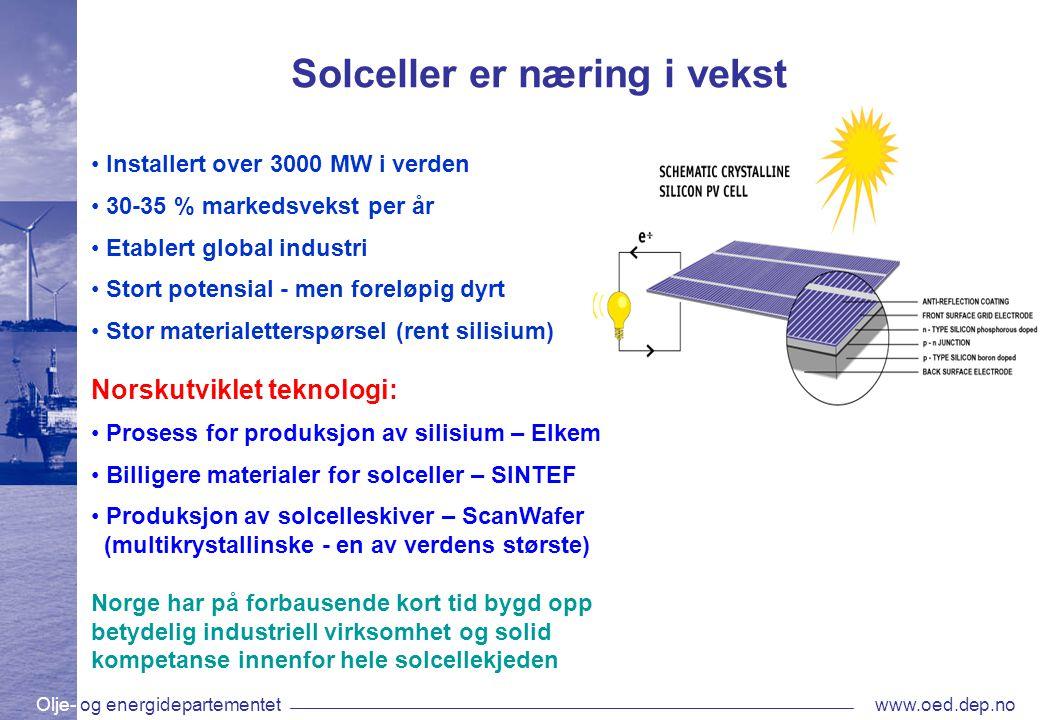 Olje- og energidepartementetwww.oed.dep.no Regjeringens syn på fornybar energi •Vi trenger å styrke kraftbalansen i Norge, også ved desentralisert energiforsyning •Soria Moria-erklæringen: Økt satsing på fornybar energi, også solkraft •Enova har satset på fornybar energi i flere år •Opprettelsen av et Energifond på 20 mrd.
