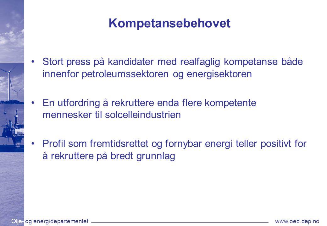 Olje- og energidepartementetwww.oed.dep.no Kompetansebehovet •Stort press på kandidater med realfaglig kompetanse både innenfor petroleumssektoren og