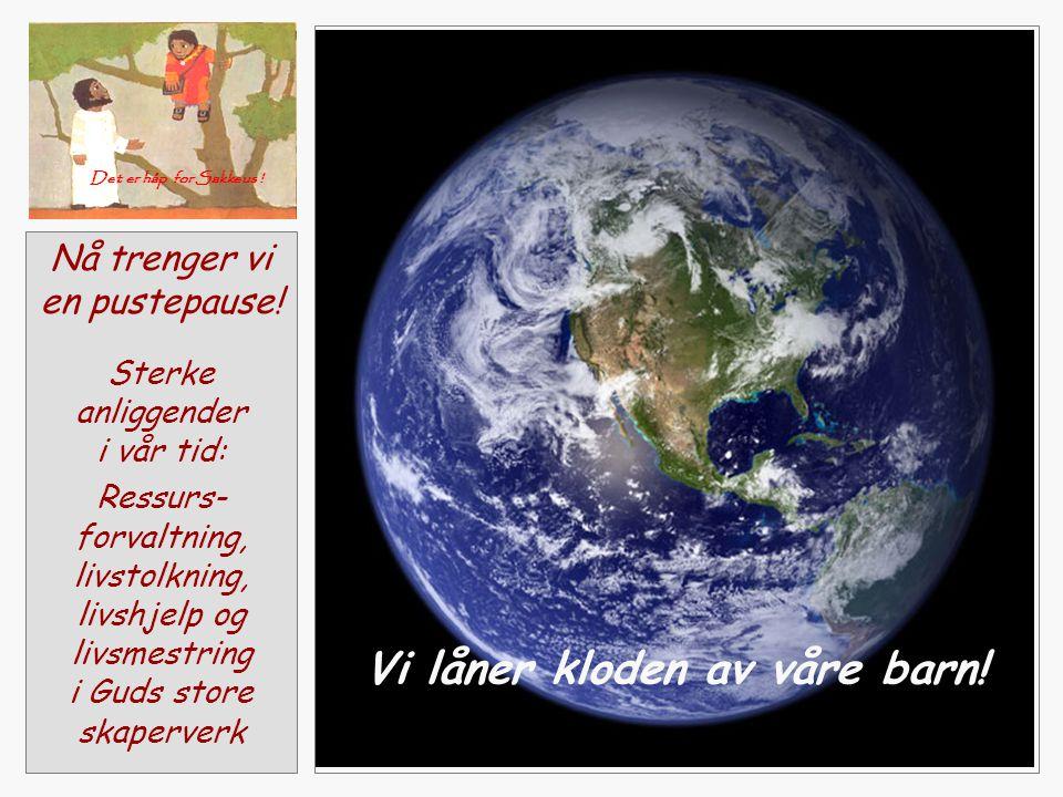 Nå trenger vi en pustepause! Sterke anliggender i vår tid: Ressurs- forvaltning, livstolkning, livshjelp og livsmestring i Guds store skaperverk Vi lå