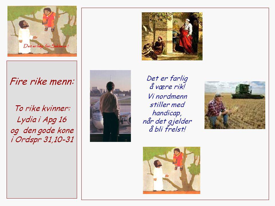 Fire rike menn: To rike kvinner: Lydia i Apg 16 og den gode kone i Ordspr 31,10-31 Det er håp for Sakkeus ! Det er farlig å være rik! Vi nordmenn stil