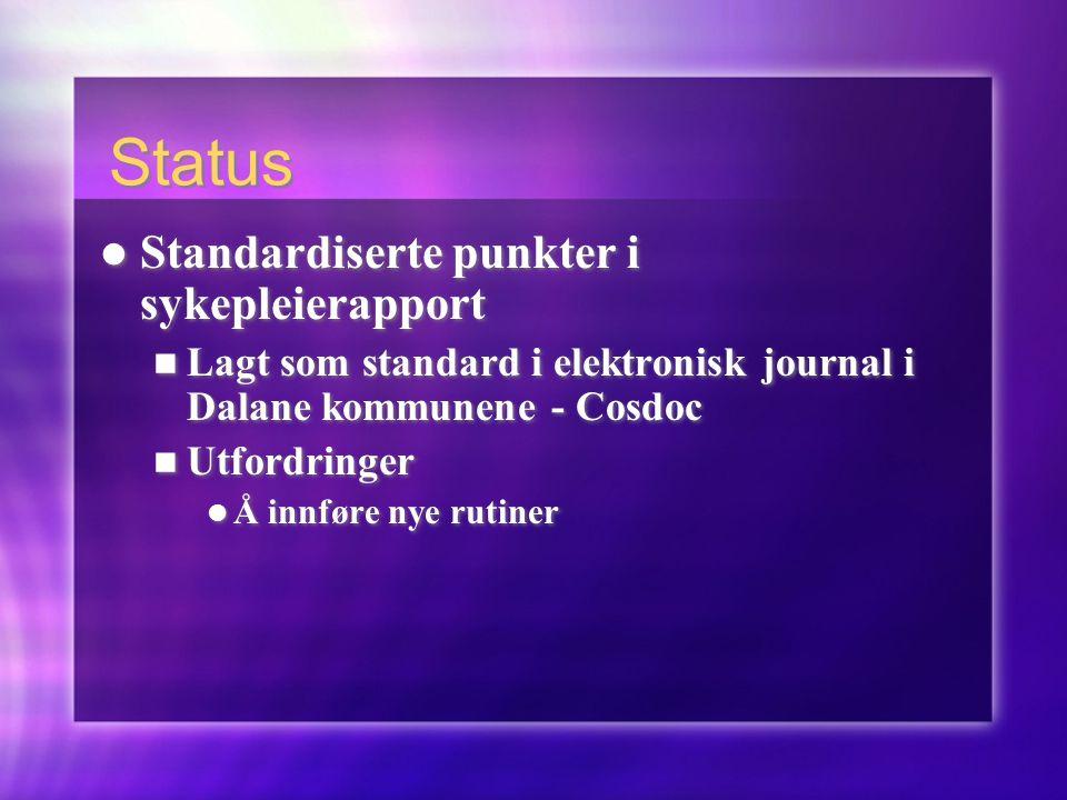 Status  Standardiserte punkter i sykepleierapport  Lagt som standard i elektronisk journal i Dalane kommunene - Cosdoc  Utfordringer  Å innføre ny