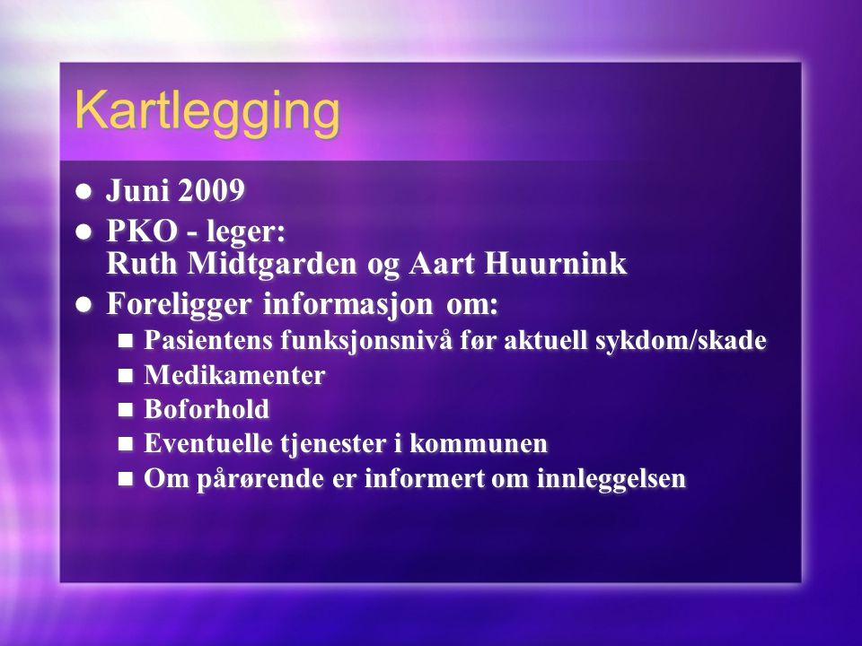 Kartlegging  Juni 2009  PKO - leger: Ruth Midtgarden og Aart Huurnink  Foreligger informasjon om:  Pasientens funksjonsnivå før aktuell sykdom/ska