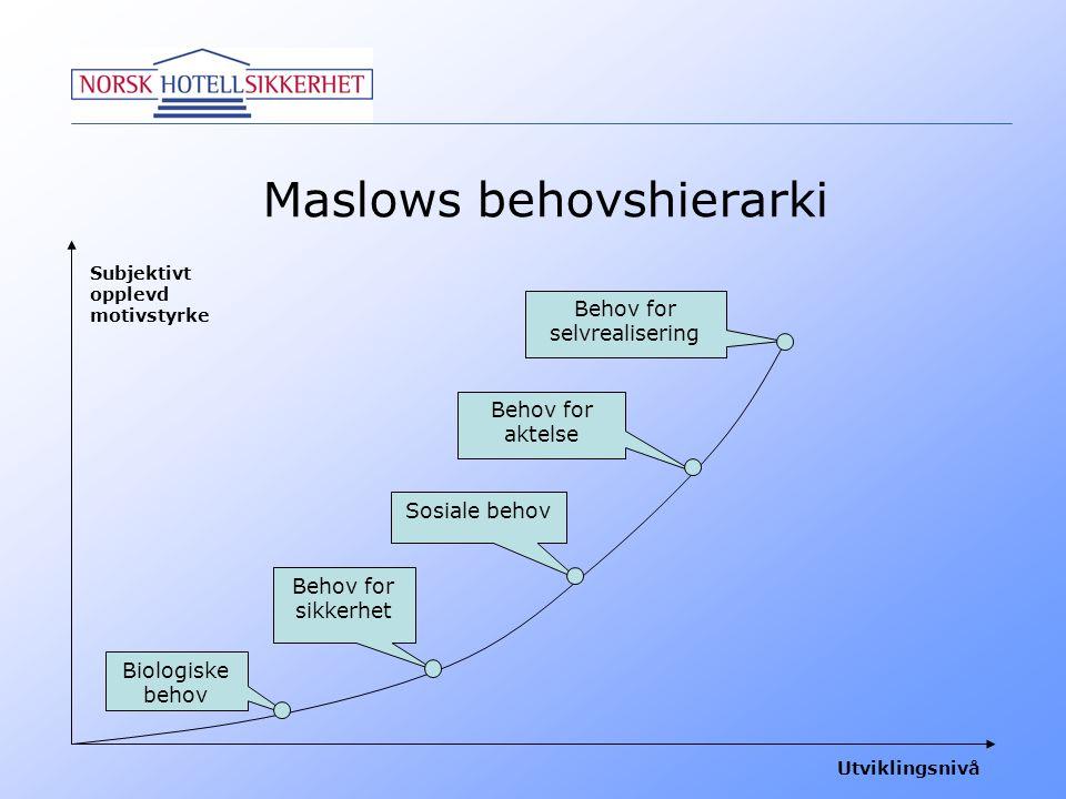 Maslows behovshierarki Subjektivt opplevd motivstyrke Utviklingsnivå Biologiske behov Behov for sikkerhet Sosiale behov Behov for aktelse Behov for se