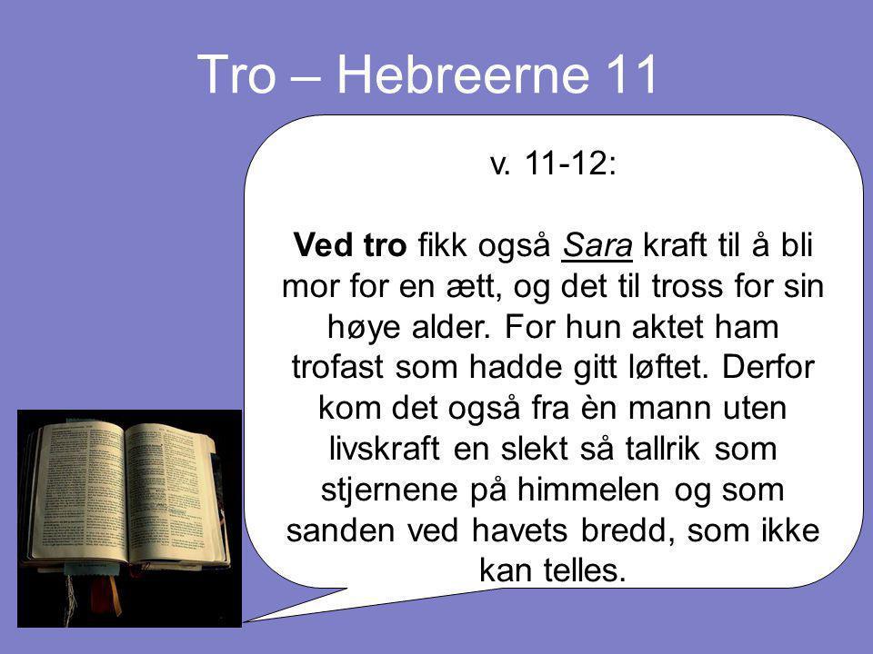 Tro – Hebreerne 11 v. 11-12: Ved tro fikk også Sara kraft til å bli mor for en ætt, og det til tross for sin høye alder. For hun aktet ham trofast som