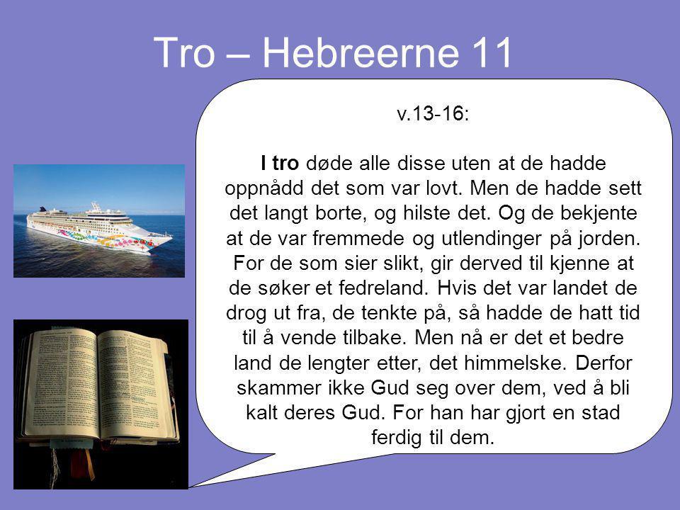 Tro – Hebreerne 11 v.13-16: I tro døde alle disse uten at de hadde oppnådd det som var lovt. Men de hadde sett det langt borte, og hilste det. Og de b