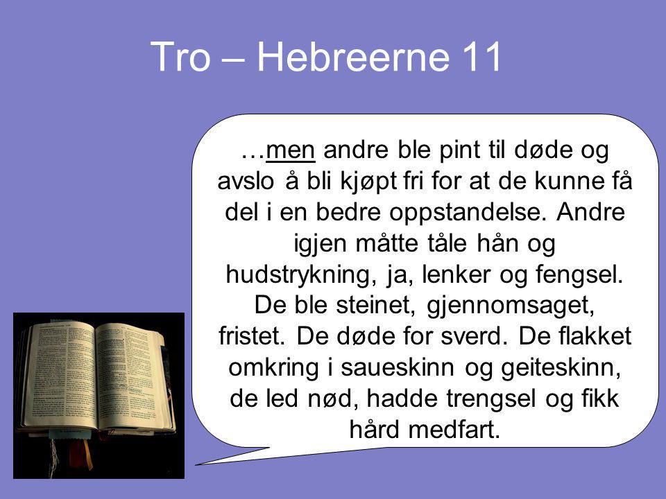 Tro – Hebreerne 11 …men andre ble pint til døde og avslo å bli kjøpt fri for at de kunne få del i en bedre oppstandelse. Andre igjen måtte tåle hån og