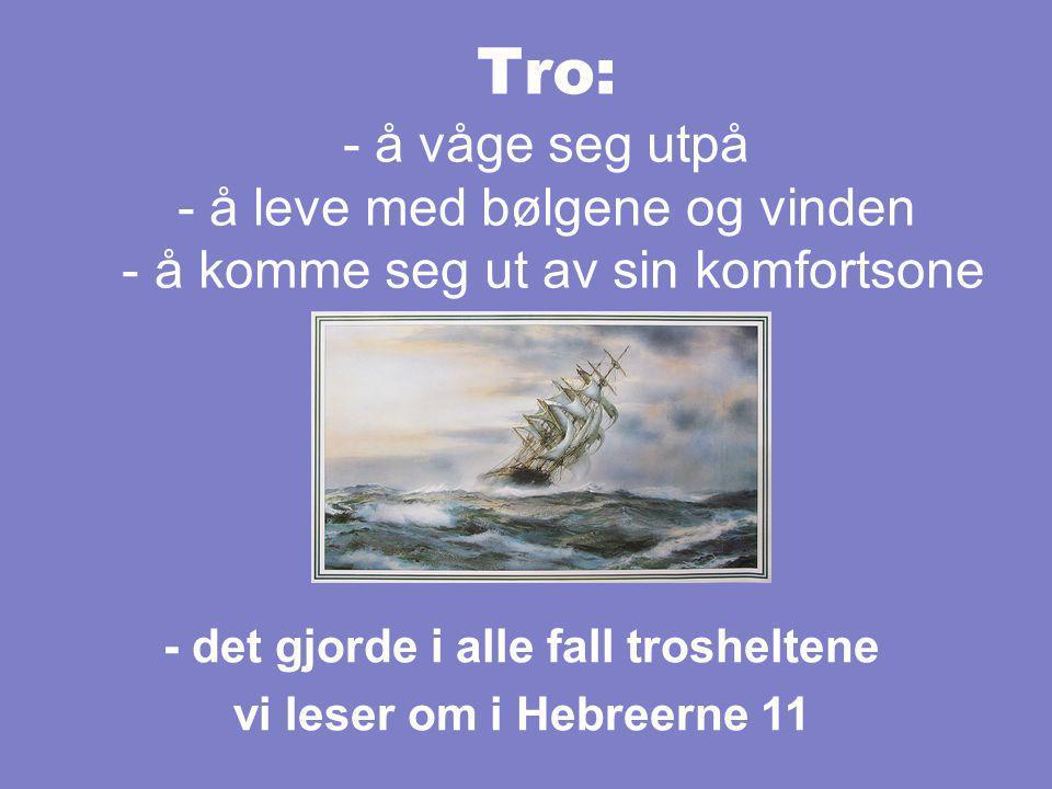 Tro: - å våge seg utpå - å leve med bølgene og vinden - å komme seg ut av sin komfortsone - det gjorde i alle fall trosheltene vi leser om i Hebreerne 11