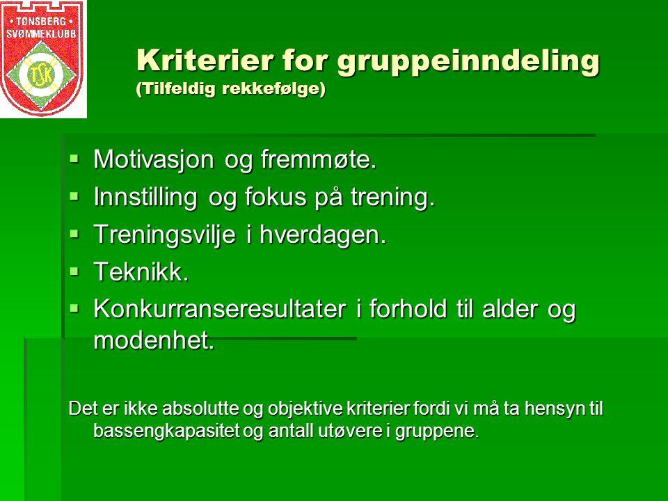 Kriterier for gruppeinndeling (Tilfeldig rekkefølge)  Motivasjon og fremmøte.