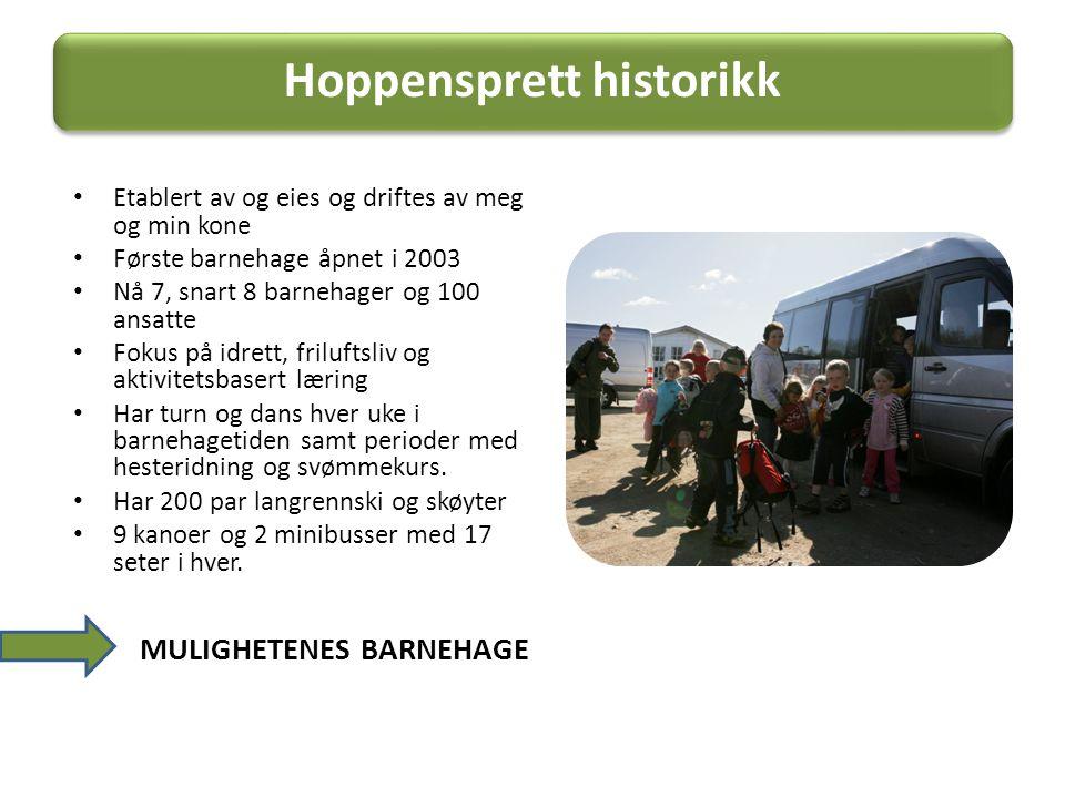 Hoppensprett historikk • Etablert av og eies og driftes av meg og min kone • Første barnehage åpnet i 2003 • Nå 7, snart 8 barnehager og 100 ansatte •