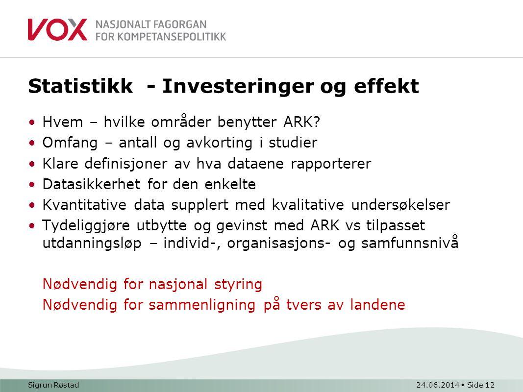 Statistikk - Investeringer og effekt •Hvem – hvilke områder benytter ARK.