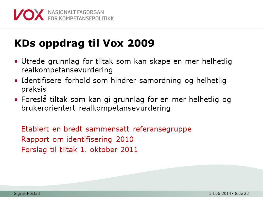 KDs oppdrag til Vox 2009 •Utrede grunnlag for tiltak som kan skape en mer helhetlig realkompetansevurdering •Identifisere forhold som hindrer samordning og helhetlig praksis •Foreslå tiltak som kan gi grunnlag for en mer helhetlig og brukerorientert realkompetansevurdering Etablert en bredt sammensatt referansegruppe Rapport om identifisering 2010 Forslag til tiltak 1.