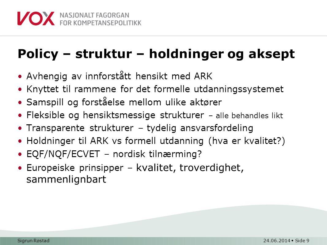 Policy – struktur – holdninger og aksept •Avhengig av innforstått hensikt med ARK •Knyttet til rammene for det formelle utdanningssystemet •Samspill og forståelse mellom ulike aktører •Fleksible og hensiktsmessige strukturer – alle behandles likt •Transparente strukturer – tydelig ansvarsfordeling •Holdninger til ARK vs formell utdanning (hva er kvalitet?) •EQF/NQF/ECVET – nordisk tilnærming.