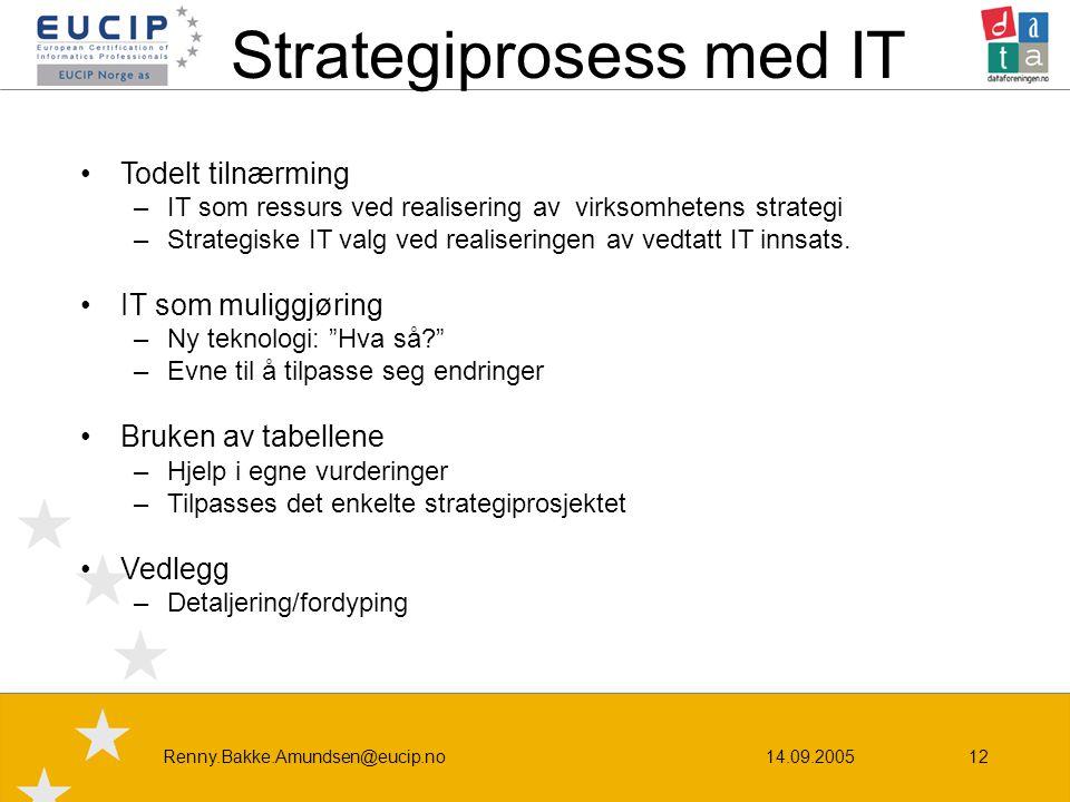 14.09.2005Renny.Bakke.Amundsen@eucip.no12 Strategiprosess med IT •Todelt tilnærming –IT som ressurs ved realisering av virksomhetens strategi –Strategiske IT valg ved realiseringen av vedtatt IT innsats.