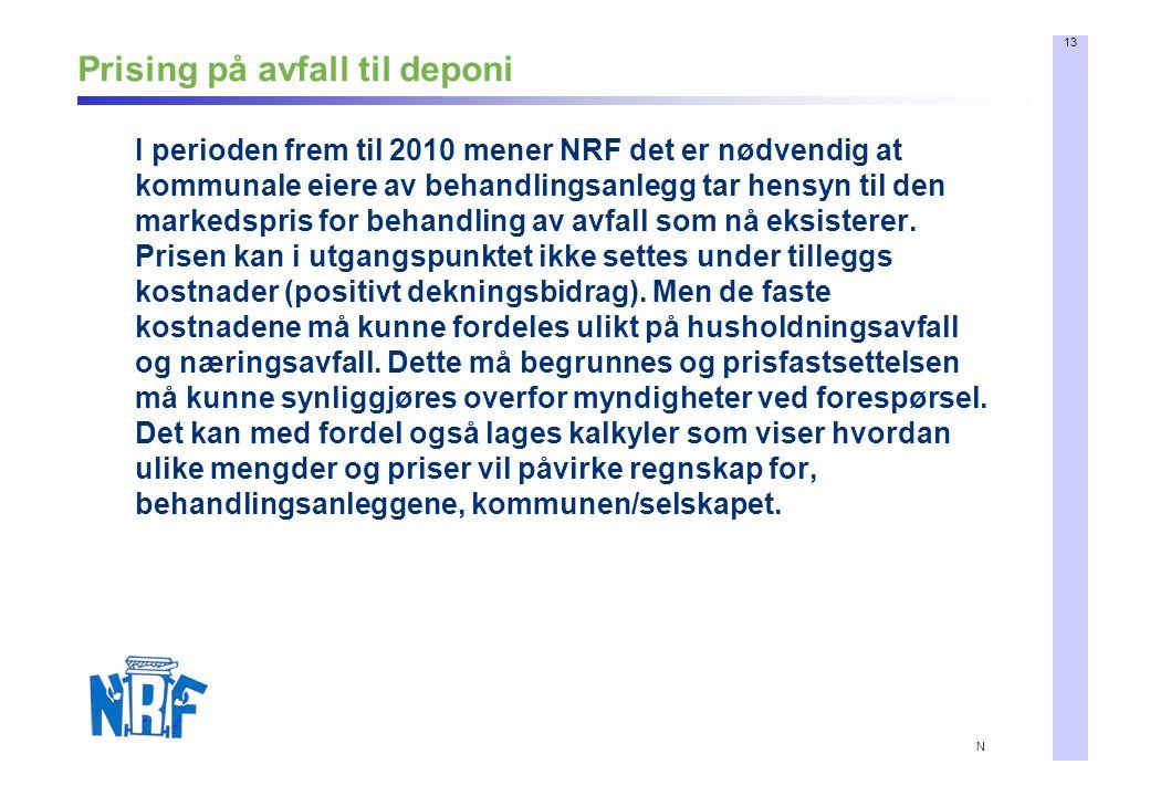 13 N Prising på avfall til deponi I perioden frem til 2010 mener NRF det er nødvendig at kommunale eiere av behandlingsanlegg tar hensyn til den markedspris for behandling av avfall som nå eksisterer.