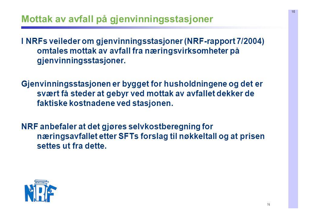 16 N Mottak av avfall på gjenvinningsstasjoner I NRFs veileder om gjenvinningsstasjoner (NRF-rapport 7/2004) omtales mottak av avfall fra næringsvirksomheter på gjenvinningsstasjoner.
