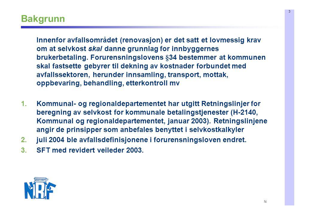 3 N Bakgrunn Innenfor avfallsområdet (renovasjon) er det satt et lovmessig krav om at selvkost skal danne grunnlag for innbyggernes brukerbetaling.