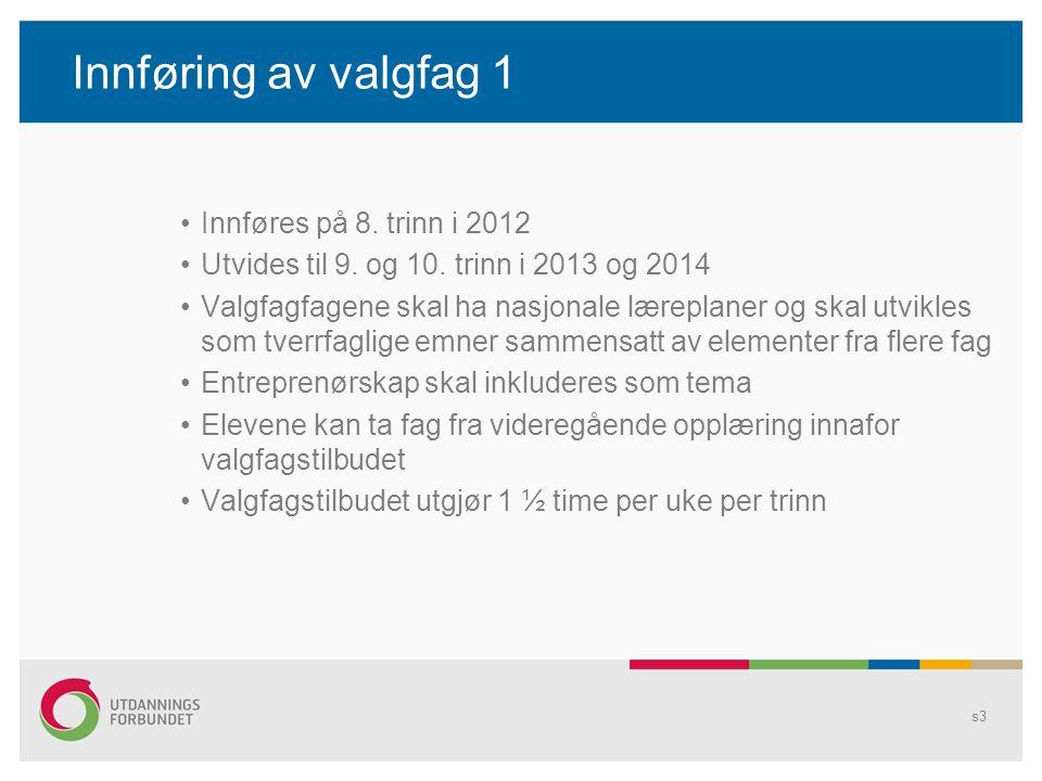 Innføring av valgfag 1 •Innføres på 8. trinn i 2012 •Utvides til 9. og 10. trinn i 2013 og 2014 •Valgfagfagene skal ha nasjonale læreplaner og skal ut