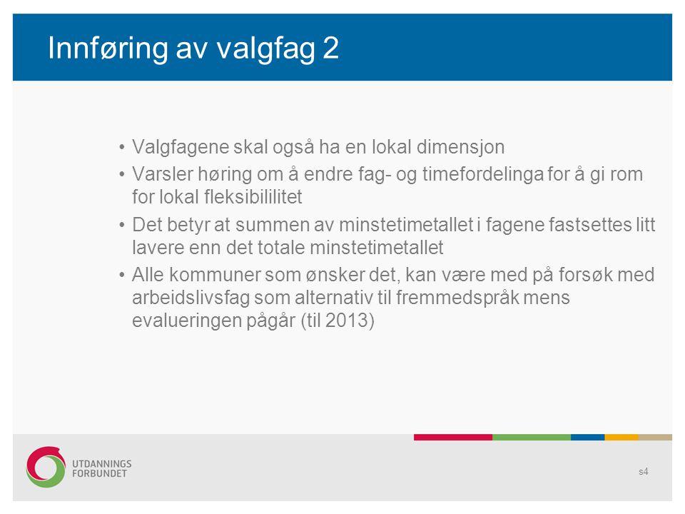Innføring av valgfag 2 •Valgfagene skal også ha en lokal dimensjon •Varsler høring om å endre fag- og timefordelinga for å gi rom for lokal fleksibili