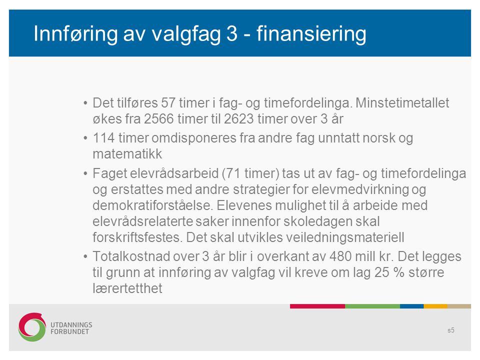 Innføring av valgfag 3 - finansiering •Det tilføres 57 timer i fag- og timefordelinga. Minstetimetallet økes fra 2566 timer til 2623 timer over 3 år •