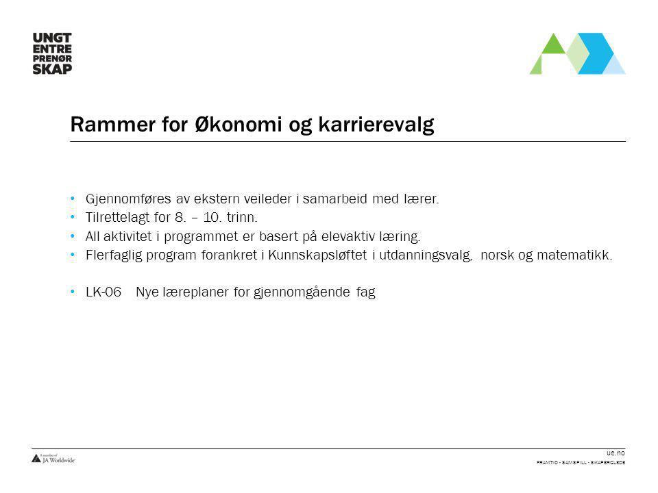 ue.no Rammer for Økonomi og karrierevalg • Gjennomføres av ekstern veileder i samarbeid med lærer. • Tilrettelagt for 8. – 10. trinn. • All aktivitet