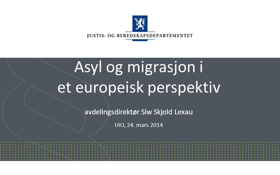 Justis- og beredskapsdepartementet Norsk mal: Startside Asyl og migrasjon i et europeisk perspektiv avdelingsdirektør Siw Skjold Lexau UiO, 24. mars 2