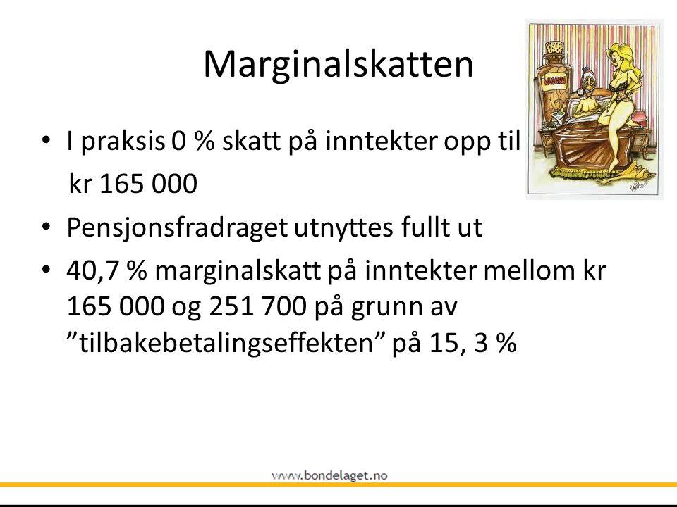 Marginalskatten • I praksis 0 % skatt på inntekter opp til kr 165 000 • Pensjonsfradraget utnyttes fullt ut • 40,7 % marginalskatt på inntekter mellom