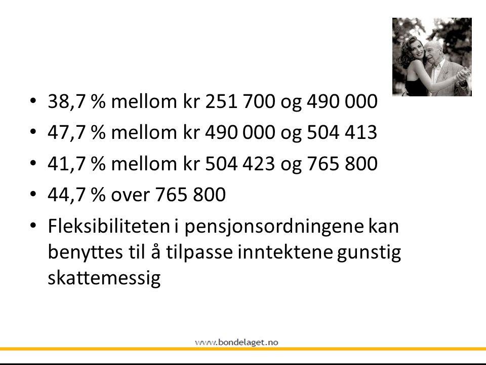 • 38,7 % mellom kr 251 700 og 490 000 • 47,7 % mellom kr 490 000 og 504 413 • 41,7 % mellom kr 504 423 og 765 800 • 44,7 % over 765 800 • Fleksibilite
