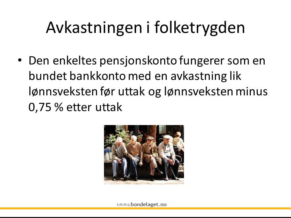 Avkastningen i folketrygden • Den enkeltes pensjonskonto fungerer som en bundet bankkonto med en avkastning lik lønnsveksten før uttak og lønnsveksten