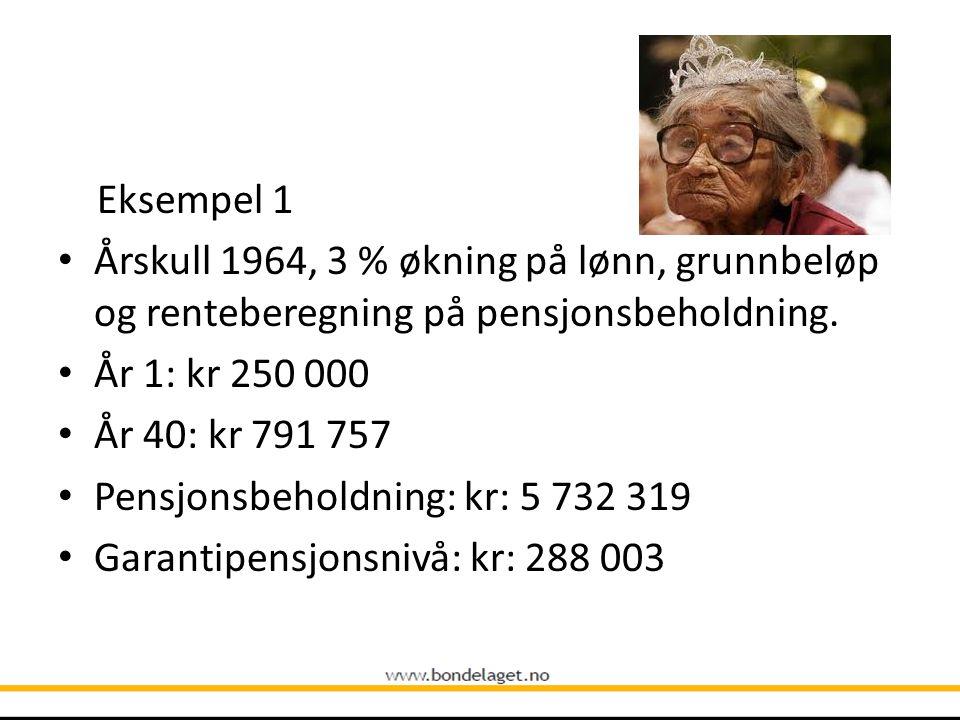 Eksempel 1 • Årskull 1964, 3 % økning på lønn, grunnbeløp og renteberegning på pensjonsbeholdning. • År 1: kr 250 000 • År 40: kr 791 757 • Pensjonsbe