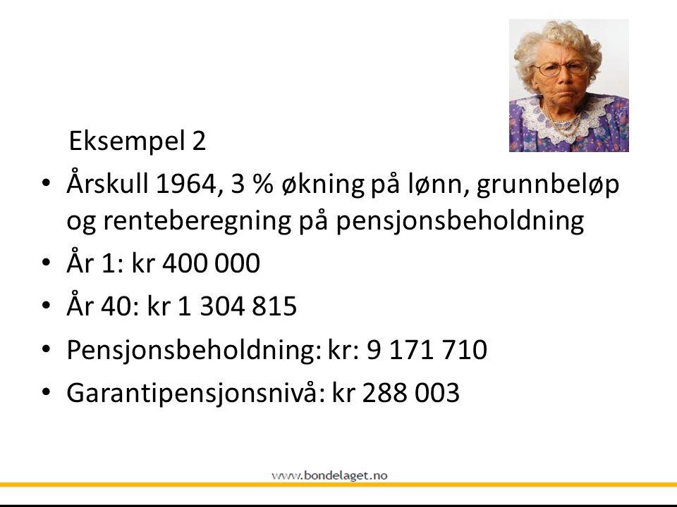 Eksempel 2 • Årskull 1964, 3 % økning på lønn, grunnbeløp og renteberegning på pensjonsbeholdning • År 1: kr 400 000 • År 40: kr 1 304 815 • Pensjonsb