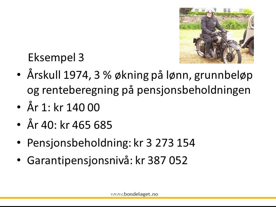 Eksempel 3 • Årskull 1974, 3 % økning på lønn, grunnbeløp og renteberegning på pensjonsbeholdningen • År 1: kr 140 00 • År 40: kr 465 685 • Pensjonsbe