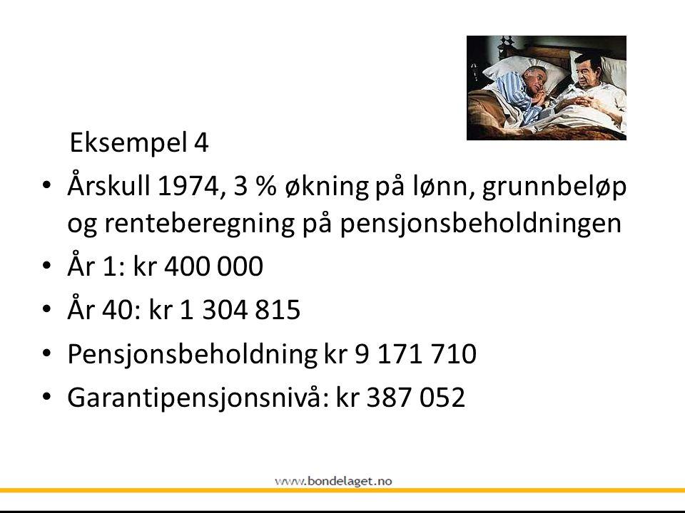 Eksempel 4 • Årskull 1974, 3 % økning på lønn, grunnbeløp og renteberegning på pensjonsbeholdningen • År 1: kr 400 000 • År 40: kr 1 304 815 • Pensjon