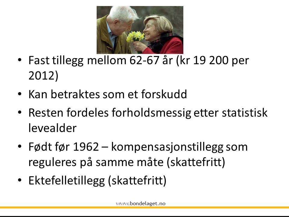 • Fast tillegg mellom 62-67 år (kr 19 200 per 2012) • Kan betraktes som et forskudd • Resten fordeles forholdsmessig etter statistisk levealder • Født