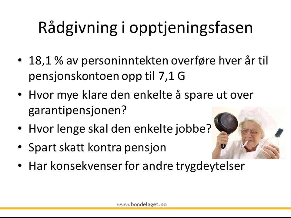 Rådgivning i opptjeningsfasen • 18,1 % av personinntekten overføre hver år til pensjonskontoen opp til 7,1 G • Hvor mye klare den enkelte å spare ut o
