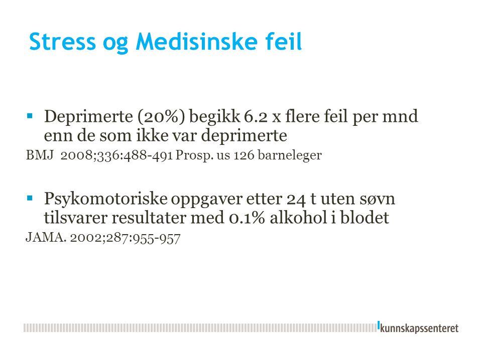 Stress og Medisinske feil  Deprimerte (20%) begikk 6.2 x flere feil per mnd enn de som ikke var deprimerte BMJ 2008;336:488-491 Prosp. us 126 barnele