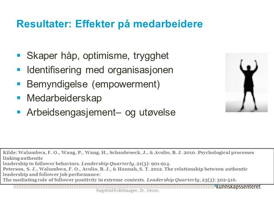 Resultater: Effekter på medarbeidere  Skaper håp, optimisme, trygghet  Identifisering med organisasjonen  Bemyndigelse (empowerment)  Medarbeiders