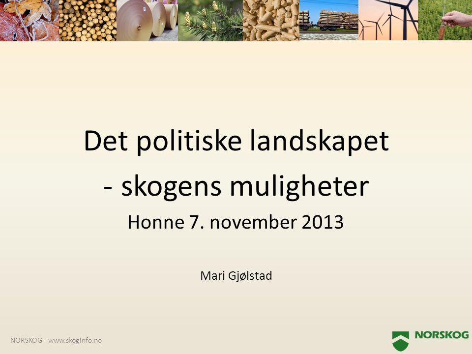 Det politiske landskapet -skogens muligheter Honne 7. november 2013 Mari Gjølstad NORSKOG - www.skoginfo.no