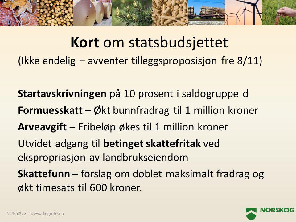 (Ikke endelig – avventer tilleggsproposisjon fre 8/11) Startavskrivningen på 10 prosent i saldogruppe d Formuesskatt – Økt bunnfradrag til 1 million k
