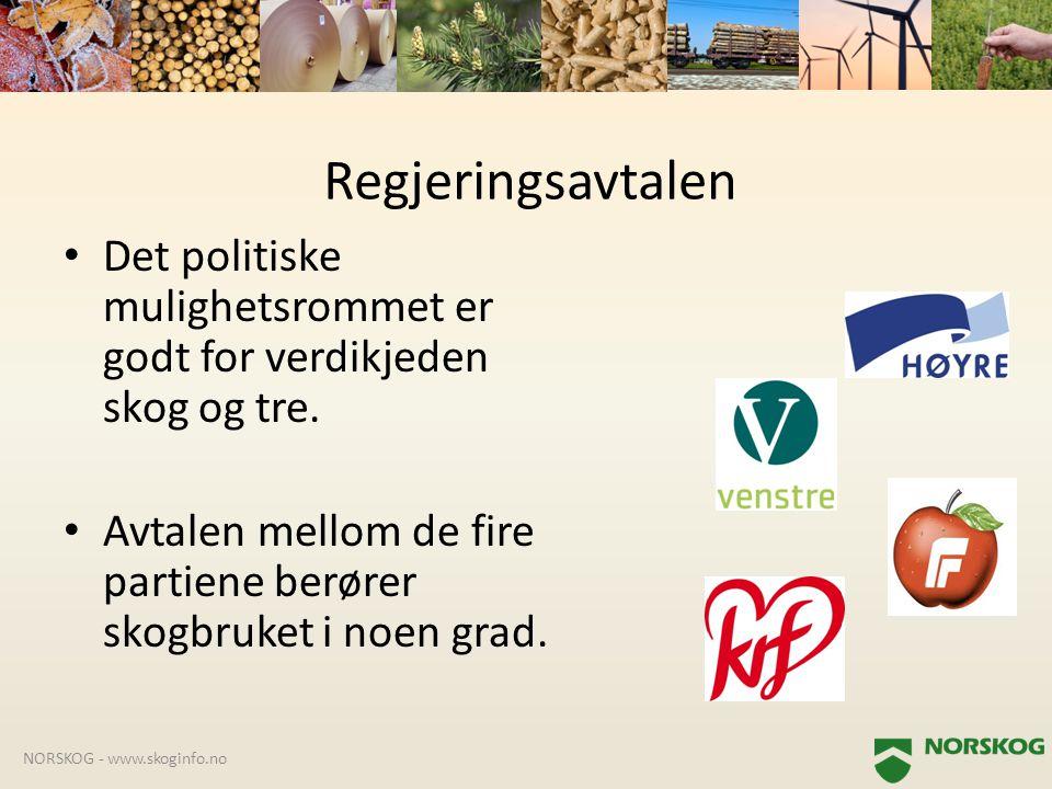 • Det politiske mulighetsrommet er godt for verdikjeden skog og tre. • Avtalen mellom de fire partiene berører skogbruket i noen grad. NORSKOG - www.s