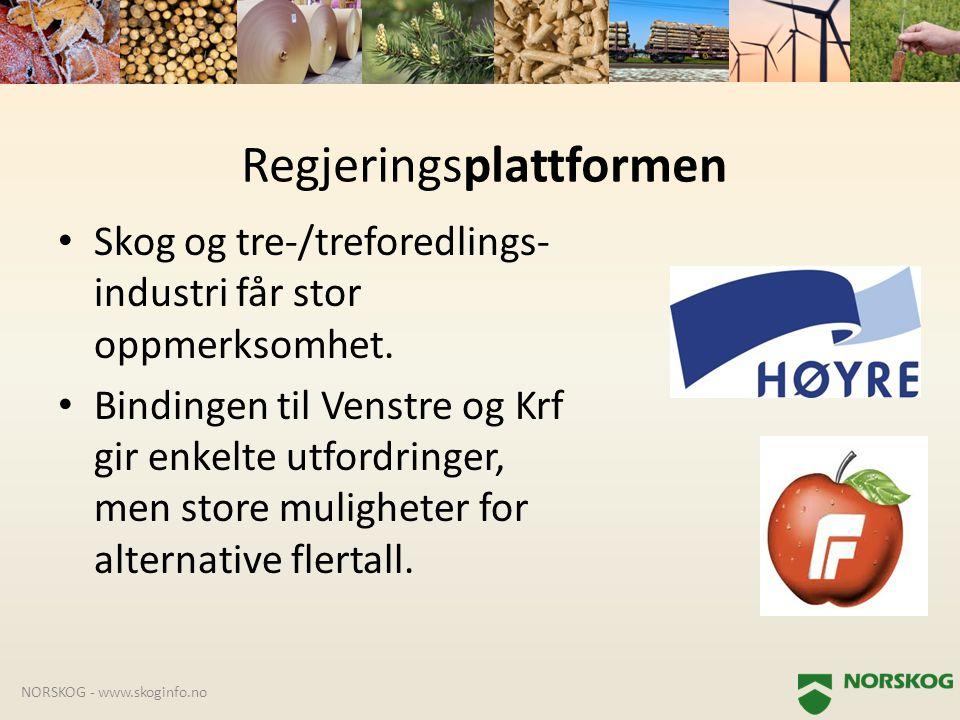 • Skog og tre-/treforedlings- industri får stor oppmerksomhet. • Bindingen til Venstre og Krf gir enkelte utfordringer, men store muligheter for alter