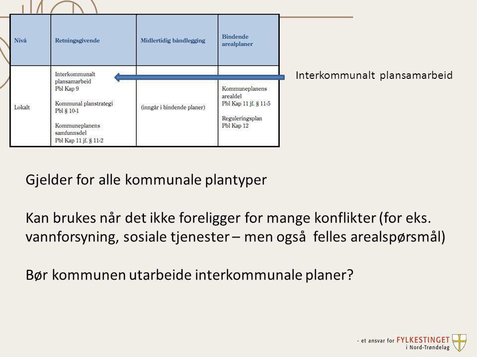 Interkommunalt plansamarbeid Gjelder for alle kommunale plantyper Kan brukes når det ikke foreligger for mange konflikter (for eks. vannforsyning, sos