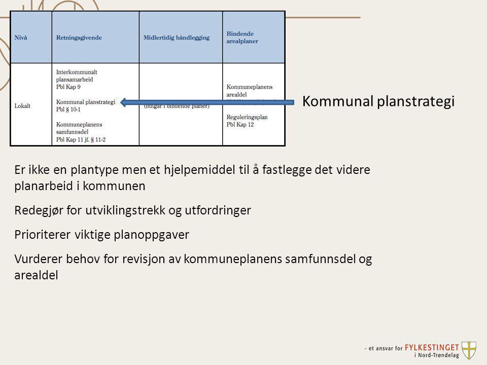 Kommunal planstrategi Er ikke en plantype men et hjelpemiddel til å fastlegge det videre planarbeid i kommunen Redegjør for utviklingstrekk og utfordr