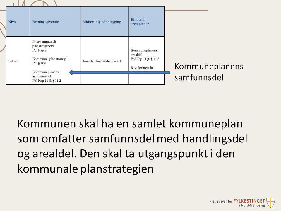 Kommunen skal ha en samlet kommuneplan som omfatter samfunnsdel med handlingsdel og arealdel. Den skal ta utgangspunkt i den kommunale planstrategien