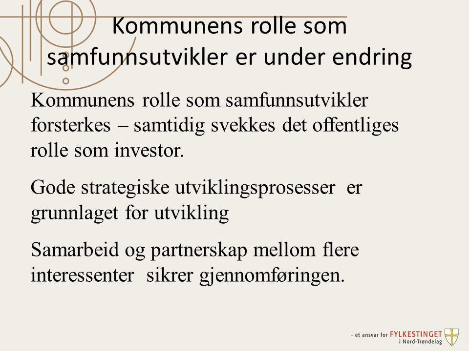 Samarbeidet er i stadig utvikling I Trøndelag ser vi et forsterket regionsamarbeid, samkommuner, kommunesammenslåing samt samarbeid over landesgrensen