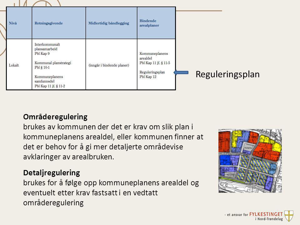 Områderegulering brukes av kommunen der det er krav om slik plan i kommuneplanens arealdel, eller kommunen finner at det er behov for å gi mer detalje