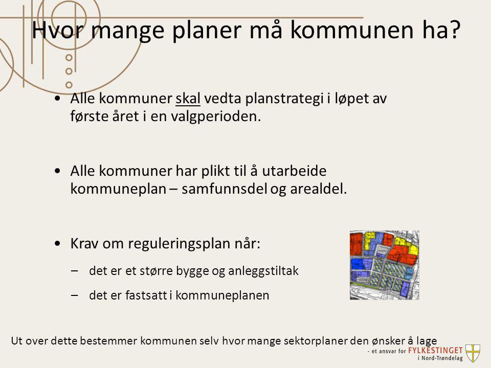 •Alle kommuner skal vedta planstrategi i løpet av første året i en valgperioden. •Alle kommuner har plikt til å utarbeide kommuneplan – samfunnsdel og