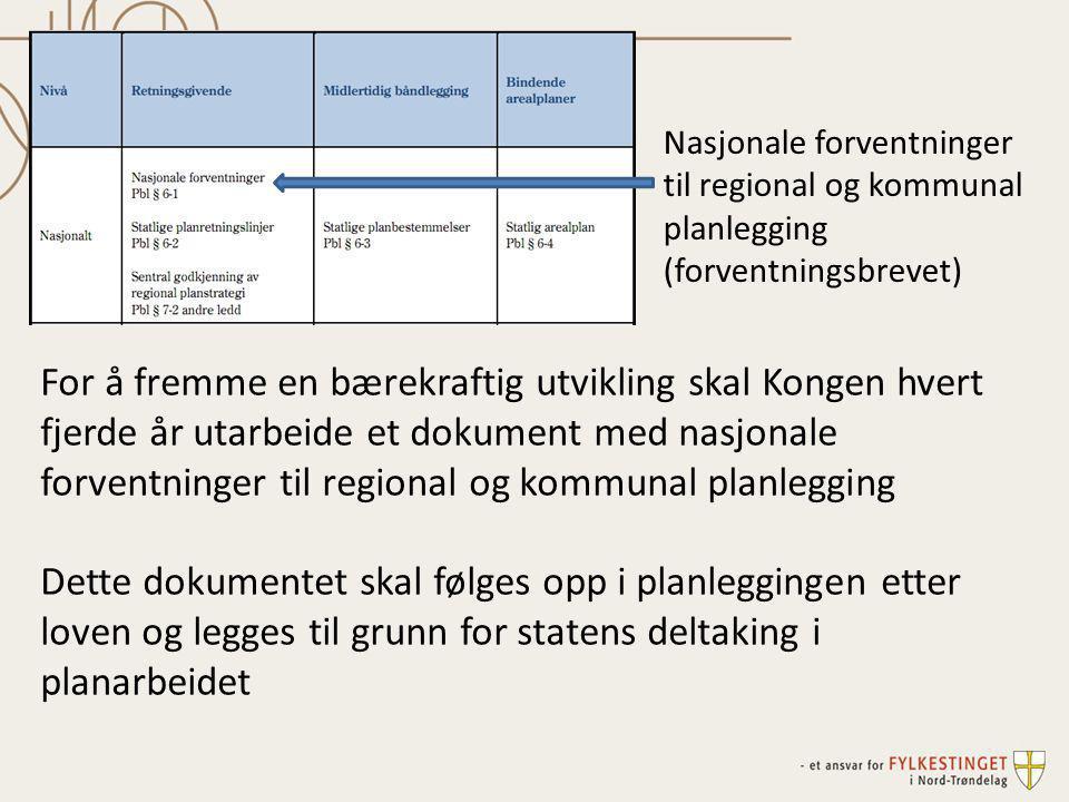 Nasjonale forventninger til regional og kommunal planlegging (forventningsbrevet) For å fremme en bærekraftig utvikling skal Kongen hvert fjerde år ut
