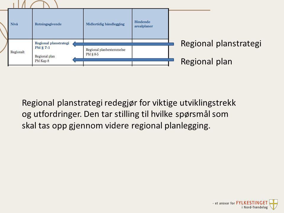 Regionale planer (etter plan- og bygningsloven) Sektorplaner Strategier Utredninger Regional planstrategi (etter plan- og bygningsloven) Er ingen plan Er et hjelpemiddel i planleggingen Fokus på sentrale utfordringer Prioritering av planoppgaver Forplikter offentlig forvaltning Inneholder mål og strategier Inneholder handlingsplaner som rulleres årlig Forplikter offentlig forvaltning Planer og utredninger uten formelle krav etter plan- og bygningsloven